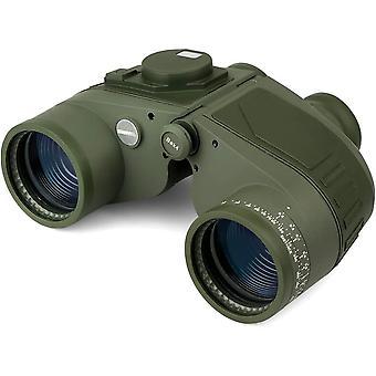 7x50 Marine Binoculars for Adults, Rangefinder Compass, Waterproof Fogproof, BAK4 Prism FMC Lens for Navigation Watersports Birdwatching Stargazing Hunting,(green)