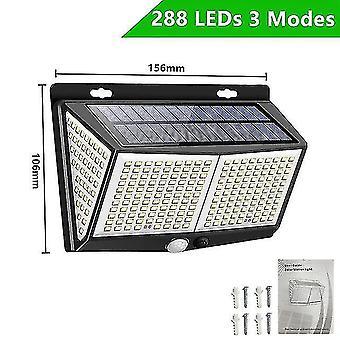 Led light bulbs 140/288/308 leds solar light outdoor 3 modes ip65 waterproof wall lamp with pir motion sensor street