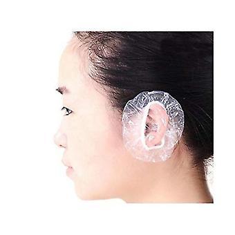 100pcs Disposable Waterproof Transparent Ear Cover Plastic Ear Protector Earmuffs