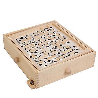 Fa labirintus játék két acél márvány puzzle játék