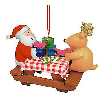 Santa en rendieren achter picknick tafel kerstvakantie Ornament van 3,5 inch