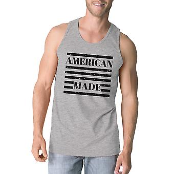 American Made Mens Grey Cotton Tanks 4th Of July Graphic Tank Top