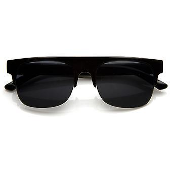 Square Club Master pół-bez oprawek pół rama płaski róg oprawie stylu okulary