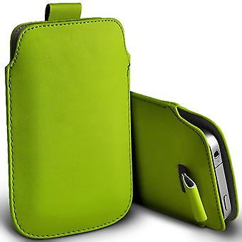 Lenovo Vibe X3 c78 Slip In Pull Tab Faux Leather Pouch Case Cover (Green)