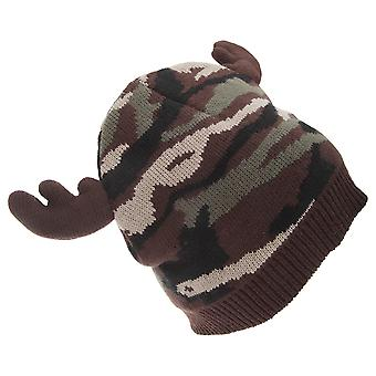 FLOSO Mens Camo Pattern Winter Beanie Hat With Moose Antlers
