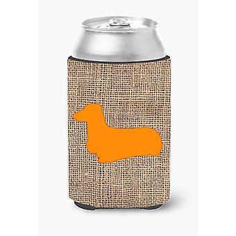 Dachshund Burlap and Orange Can or Bottle Beverage Insulator Hugger