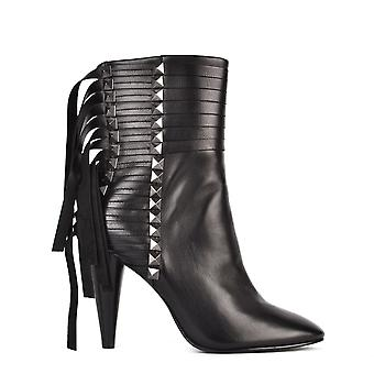 Ash Footwear Brave Black Leather And Gunmetal Studded Heeled Boot
