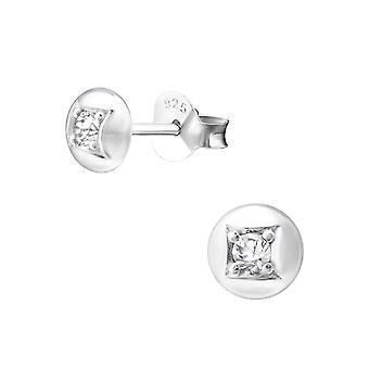 Раунд - 925 стерлингового серебра кубического циркония уха шпильки - W33849x