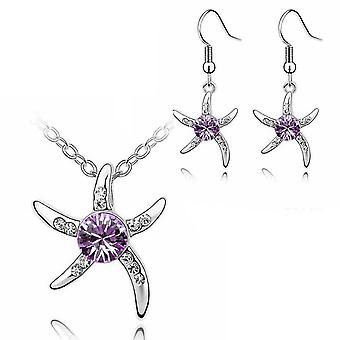 Womens Silver Starfish Necklace And Earrings Set Purple Crystal Stone