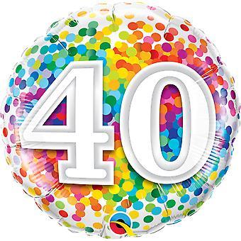 Folha de confetes de número 40 aniversário balão cerca de 45 cm