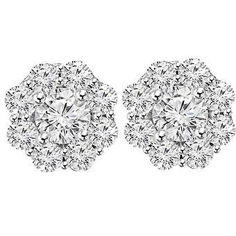 3 1/2ct Halo Fire Diamond Studs 14K White Gold