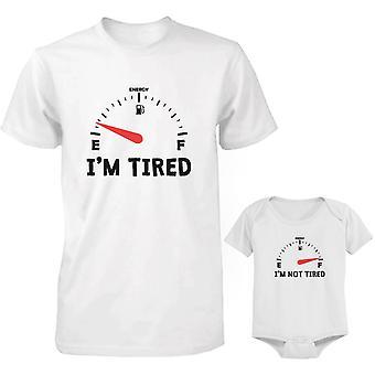 Træt og ikke træt far og Baby matchende skjorte og Bodysuit