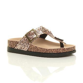 Ajvani kvinners flat flatform spenne strappy lysbilder t-bøylen plattform glitter glitrende glidere sandaler flip flops