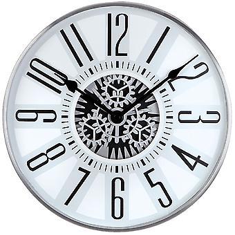 Atlanta 4440 murale horloge quartz analogique gris argenté avec engrenages visibles squelettes