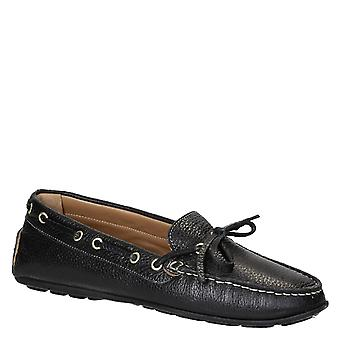 Leonardo Schuhe Frauen's handgemachte Fahren Mokassins schwarz Vollkornleder