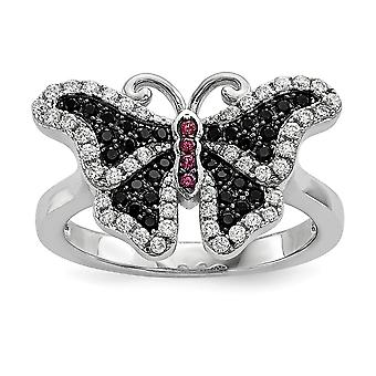 925 Sterling Silver Pave Black Rhodium plated and CZ Cubic Zirconia Simulated Diamond Brilliant Embers Butterfly Angel W