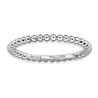 925 Sterling Silver Polished Patterned Rhodium plated Stackable Expressions Rhodium Ring Jewelry Gifts for Women - Ring
