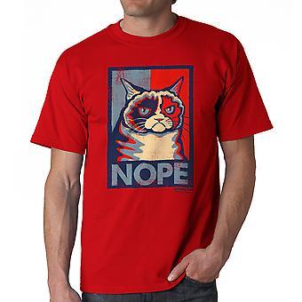 Norse kat Nope rood grappig T-shirt voor mannen