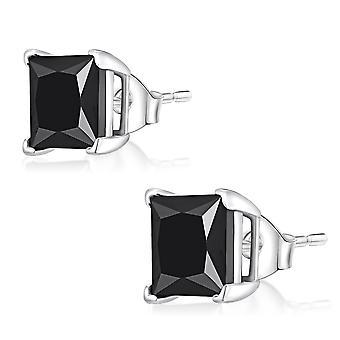 Ear Studs Earrings 925 Sterling Silver, Square Black Stones, Jewellery | 3-8 mm