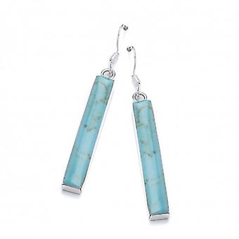 Cavendish French Sterling Silver and Formed Turquoise Lozenge Drop Earrings