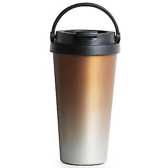 TRIXES Stainless Steel Thermo Travel Coffee and Beverage Cup 500ml Gold Colour with Handle Easy Clean