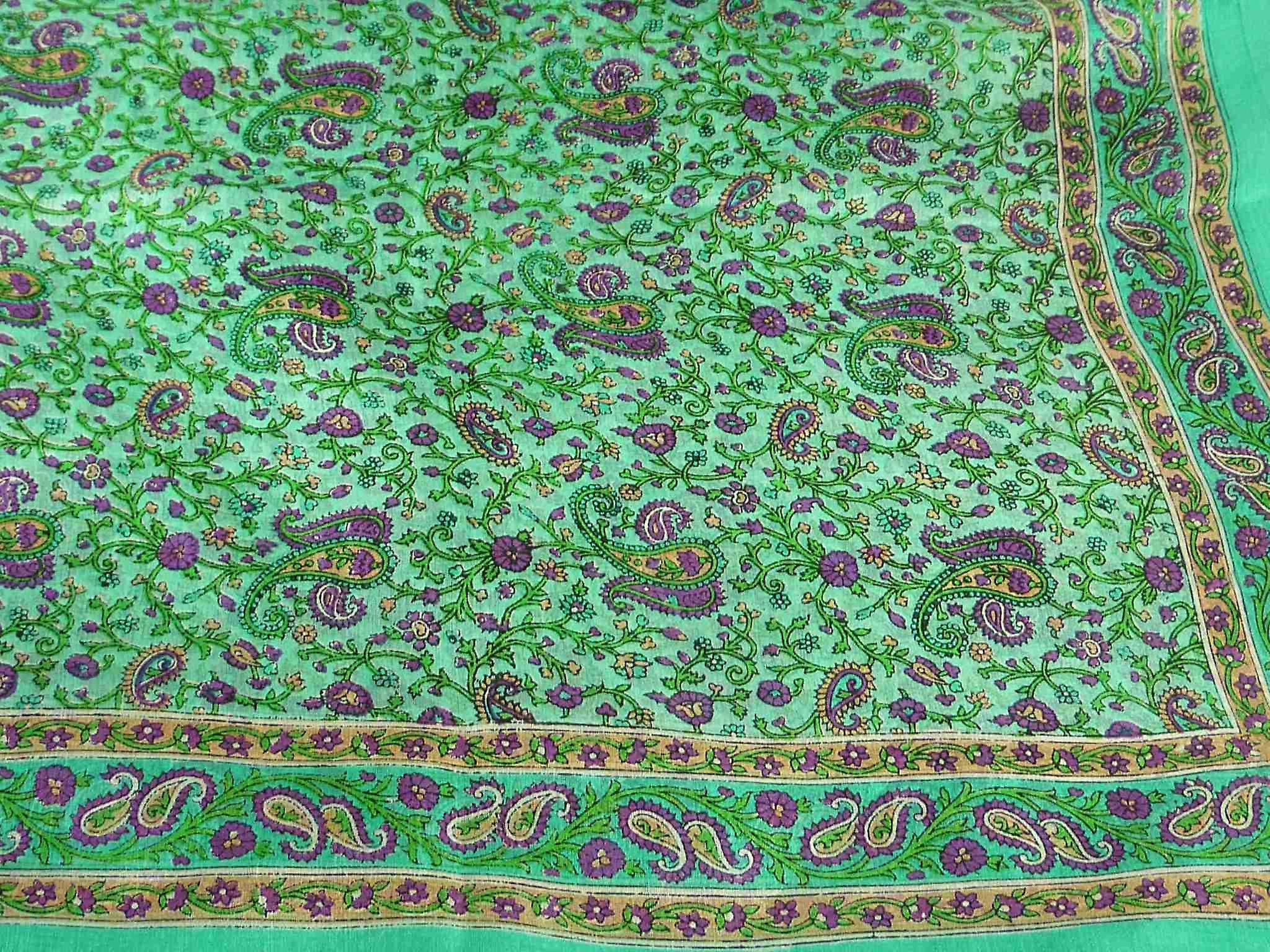 Mulberry Silk Traditional Square Scarf Abbe Green by Pashmina & Silk