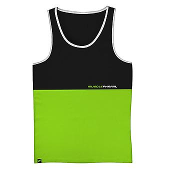 MusclePharm Mens MP Stacked Tank Top Shirt - Black/Green - gym fitness