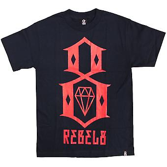 Rebel8 Logo t-paita Navy punainen