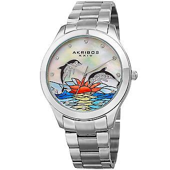 Akribos XXIV AK953DSS cadran avec des cristaux de Swarovski véritables et nacre blanche avec montre bracelet en acier inoxydable