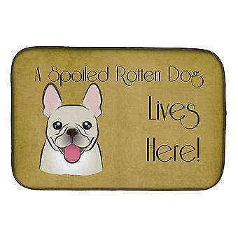 Ranskan Bulldog pilaantunut koira asuu täällä lautasen kuivaus matto