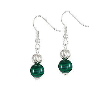 Eternal Collection debutant grønn malakitt semi edelt sølv tone drop gjennomboret øredobber