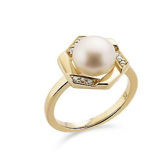 Orphelia 925 zilveren ring geel met Zoetwaterparel en zirkonium