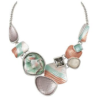 Eternal Collection Cavalcade Green Multi Enamel Silver Tone Statement Necklace