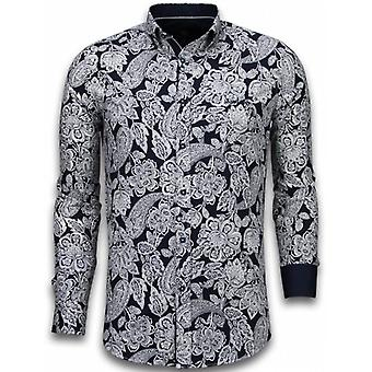 E Shirts - Slim Fit - White On Navy Flower Pattern - Navy