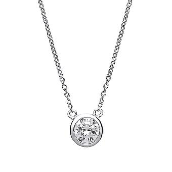 Jewelco Londen dames rhodium plated zilver wit ronde Cubic Zirconia donut Solitaire Charm Necklace 16 + 2 inch