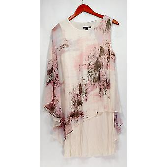 H door Halston jurk One-Shoulder met bedrukte chiffon ivoor/roze A273728