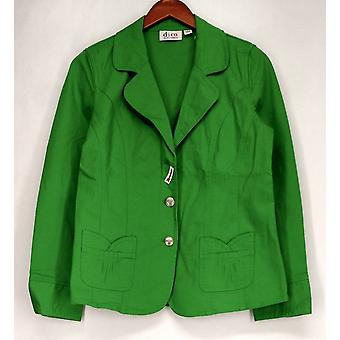 Denim & Co. Basic Jacket Stretch Twill Jacket w/ Button Accents Green A198574