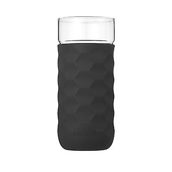 Honeycomb Anti-skid Glass with Silicone Sleeve 380ml in Black
