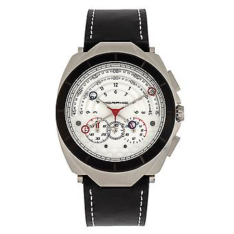 Morphic M79 Series Chronograph Leather-Band Watch - Argent/Blanc