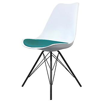 Fusion Living Eiffel Inspired White And Teal Dining Chair With Black Metal Legs