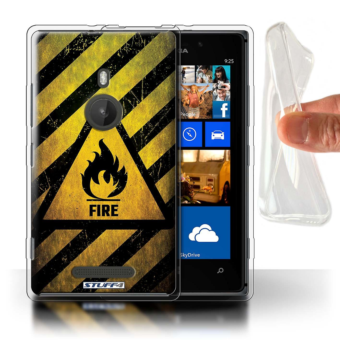 STUFF4 Gel TPU Case/Cover for Nokia Lumia 925/Fire/Flammable/Hazard Warning Signs