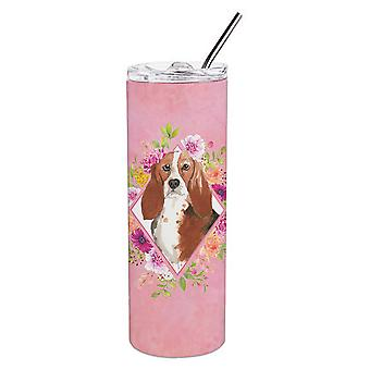 Basset Hound Pink Flowers Double Walled Stainless Steel 20 oz Skinny Tumbler