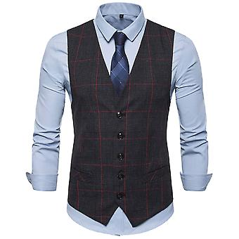 Allthemen Men's Single-Breasted Plaid V-Neck Casual Suit Weste