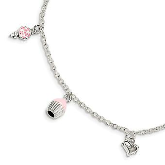 925 Sterling Silver for boys or girls Enameled Lollipop Cupcake Heart With 1.5inch Ext. Bracelet  5.5 Inch