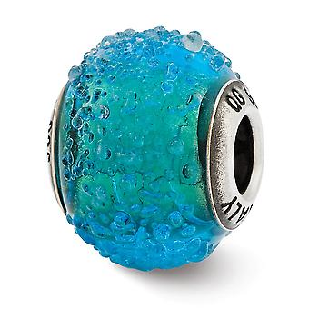 925 Sterling hopea kiillotettu antiikki viimeistely Italian Muranon lasi heijastukset Italian sininen ja vihreä kuvioitu lasi helmi