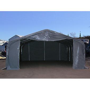 Lagerzelt PRO 6x12x3,7m PVC mit Dachfenster, Grau