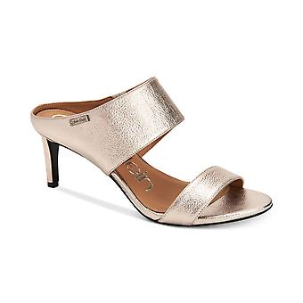 Calvin Klein Womens Cecily Leather Open Toe Casual Slide Sandals