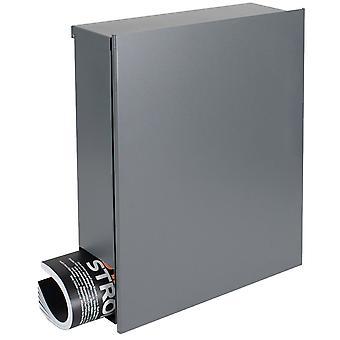Design-Briefkasten mit Zeitungsfach grau-aluminium (RAL 9007) MOCAVI Box 111 Wandbriefkasten 12 Liter