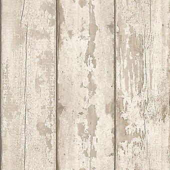 Biała, sprana tapeta z drewna Arthouse 694700