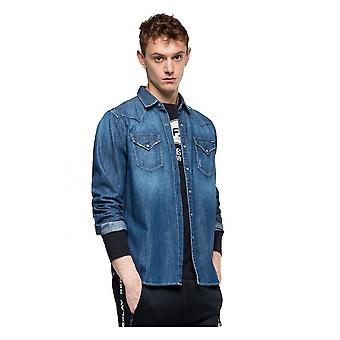 Replay Jeans heren replay denim overhemd denim blauw